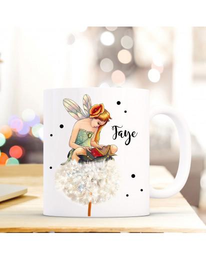 Tasse Becher mit Fee Elfe & Pusteblume Geschenk mit Feenmotiv Kaffeetasse Elfentasse mit Namen Wunschnamen Kaffeebecher ts781