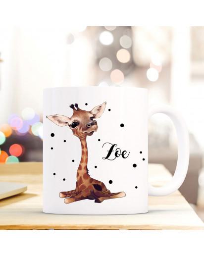 Tasse Becher mit Giraffen Baby & Punkte Geschenk mit Tiermotiv Kaffeetasse Giraffentasse mit Namen Wunschnamen Kaffeebecher ts783