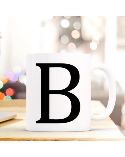 Tasse Becher mit Buchstabe B Geschenk mit Buchstabenmotiv Kaffeetasse Buchstabentasse mit großem B Kaffeebecher ts801