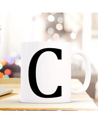 Tasse Becher mit Buchstabe C Geschenk mit Buchstabenmotiv Kaffeetasse Buchstabentasse mit großem C Kaffeebecher ts802