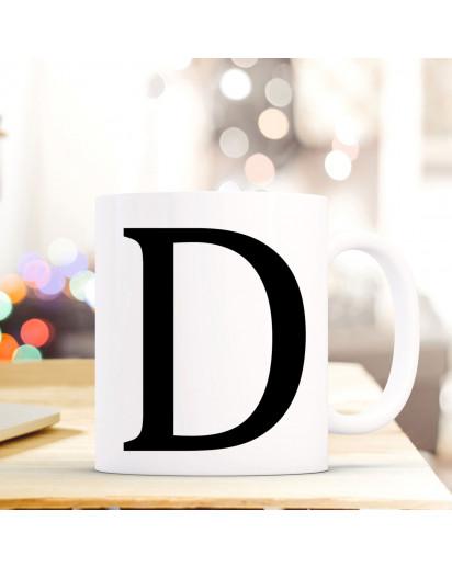 Tasse Becher mit Buchstabe D Geschenk mit Buchstabenmotiv Kaffeetasse Buchstabentasse mit großem D Kaffeebecher ts803