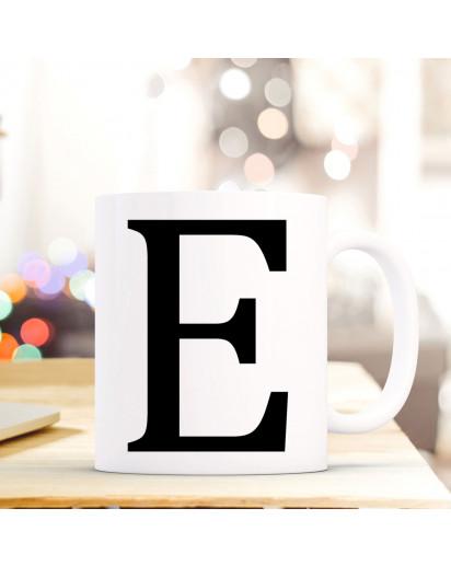 Tasse Becher mit Buchstabe E Geschenk mit Buchstabenmotiv Kaffeetasse Buchstabentasse mit großem E Kaffeebecher ts804