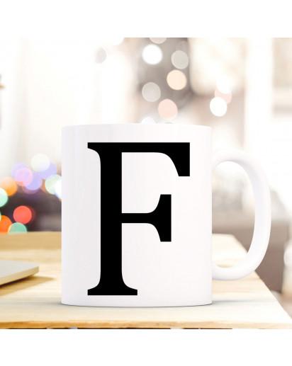Tasse Becher mit Buchstabe F Geschenk mit Buchstabenmotiv Kaffeetasse Buchstabentasse mit großem F Kaffeebecher ts805