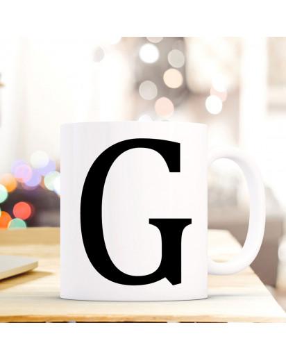 Tasse Becher mit Buchstabe G Geschenk mit Buchstabenmotiv Kaffeetasse Buchstabentasse mit großem G Kaffeebecher ts806