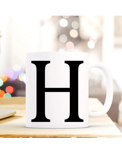 Tasse Becher mit Buchstabe H Geschenk mit Buchstabenmotiv Kaffeetasse Buchstabentasse mit großem H Kaffeebecher ts807