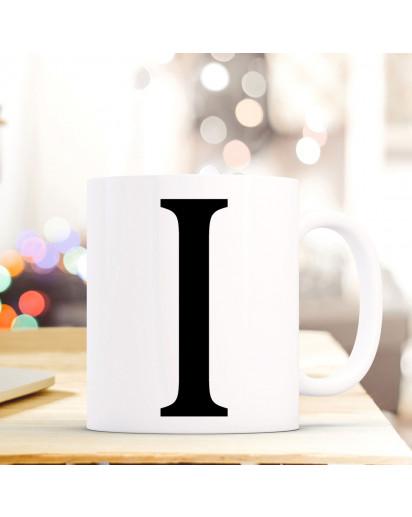 Tasse Becher mit Buchstabe I Geschenk mit Buchstabenmotiv Kaffeetasse Buchstabentasse mit großem I Kaffeebecher ts808