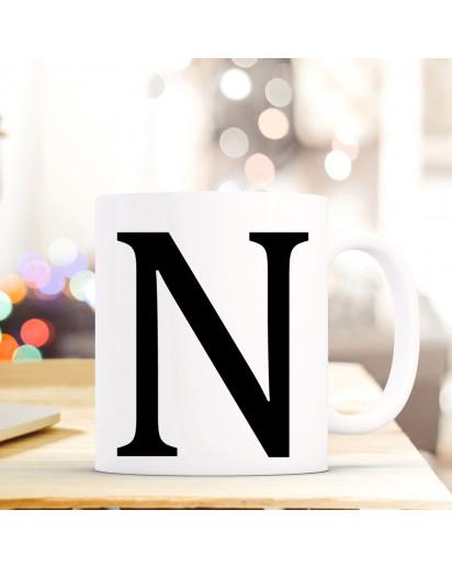 Tasse Becher mit Buchstabe N Geschenk mit Buchstabenmotiv Kaffeetasse Buchstabentasse mit großem N Kaffeebecher ts813