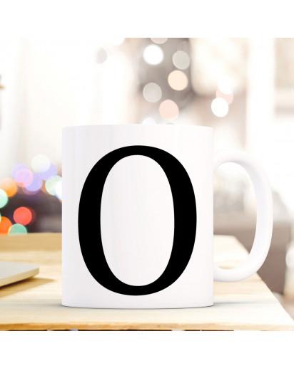 Tasse Becher mit Buchstabe O Geschenk mit Buchstabenmotiv Kaffeetasse Buchstabentasse mit großem O Kaffeebecher ts814