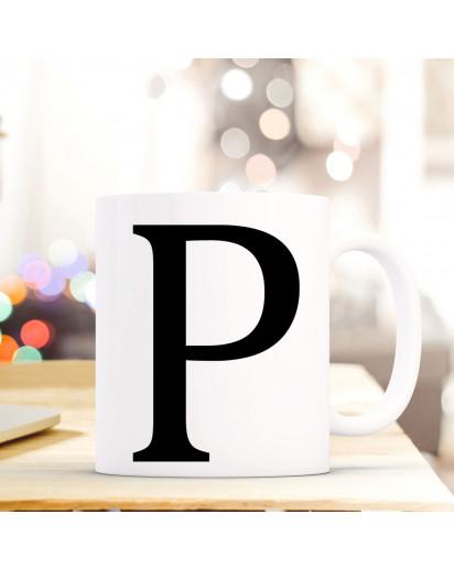 Tasse Becher mit Buchstabe P Geschenk mit Buchstabenmotiv Kaffeetasse Buchstabentasse mit großem P Kaffeebecher ts815