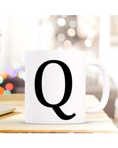 Tasse Becher mit Buchstabe Q Geschenk mit Buchstabenmotiv Kaffeetasse Buchstabentasse mit großem Q Kaffeebecher ts816