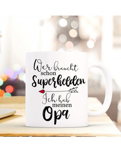 Tasse Becher mit Spruch Superhelden meinen Opa Kaffeebecher Geschenk Spruchbecher ts843