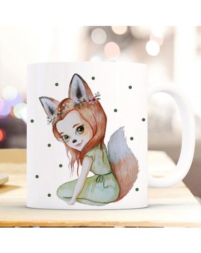 Tasse Becher mit Motiv Fuchsmädchen Fara mit grünen Punkten Kaffeebecher Teetasse Geschenk Motivbecher ts854
