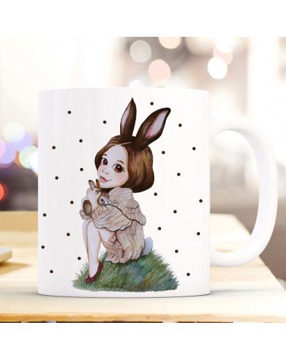 Tasse Becher mit Motiv Hasenmädchen Huki mit schwarzen Punkten Kaffeebecher Teetasse Geschenk Motivbecher ts856