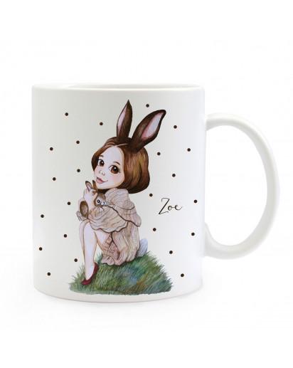 Individuelle Tasse Becher Hasenmädchen Huki mit schwarzen Punkten & Name Geschenk Kaffeebecher mit Wunschname ts857