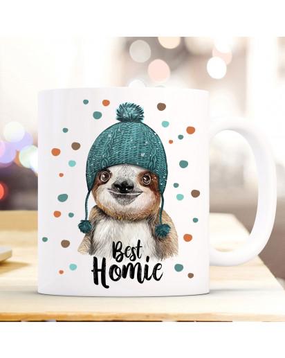 Tasse Becher mit Faultier Pudelmütze & Spruch best homie Motiv Kaffeebecher Geschenk Weihnachten ts881