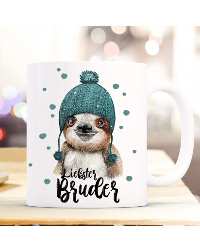 Tasse Becher mit Faultier Pudelmütze & Spruch Liebster Bruder Motiv Kaffeebecher Geschenk Weihnachten ts883