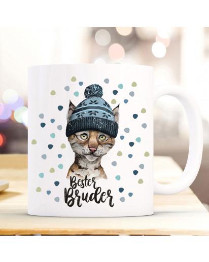 Tasse Becher mit Luchs Pudelmütze & Spruch Bester Bruder Motiv Kaffeebecher Geschenk Weihnachten ts886