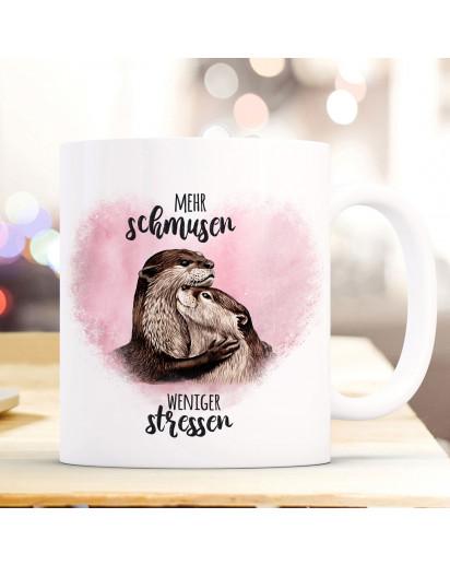 Tasse Becher Motiv mit Otter Pärchen rosa Spruch Mehr schmusen weniger stressen Kaffeebecher Geschenk Spruchbecher ts919