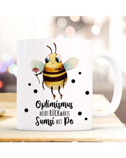 Tasse Becher Motiv Biene Sumsi Spruch Optimismus rückwärts... Kaffeebecher Geschenk Spruchbecher ts925