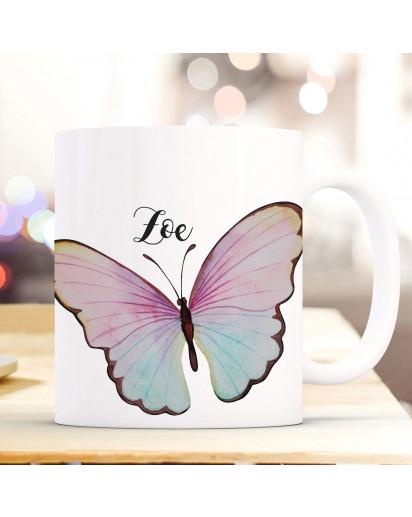 Tasse Becher Motiv bunter Schmetterling mit Name Wunschname Kaffeebecher Geschenk Spruchbecher ts938