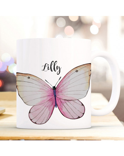 Tasse Becher Motiv schöner Schmetterling mit Name Wunschname Kaffeebecher Geschenk Spruchbecher ts939