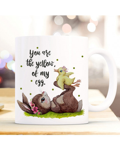 Tasse Becher Motiv Hase & Ente Spruch You are the yellow of my egg Kaffeebecher Geschenk Spruchbecher ts940