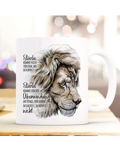 Tasse Becher Motiv Löwe Löwenkopf Spruch Stärke kommt von Überwindung Kaffeebecher Geschenk Spruchbecher ts955