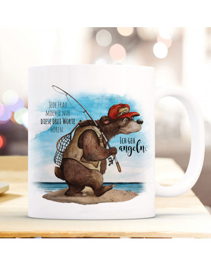 Tasse Becher Kaffeetasse Angler Bär Angel Spruch Ich gehe angeln Kaffeebecher Geschenk Spruchbecher ts965