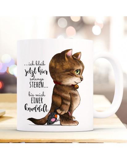 Tasse Becher Kaffeetasse Kater Katze Kätzchen Spruch bis mich einer knuddelt Kaffeebecher Geschenk Spruchbecher ts969