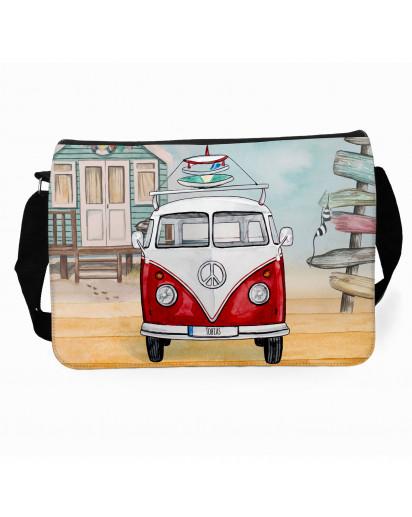 Schultertasche Schultasche Tasche Umhängetasche roter Bulli Bus mit Surf Boards Surfbretter & Name Wunschname tsu73