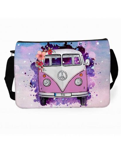 Schultertasche Schultasche Tasche Umhängetasche rosa Galaxie Bulli Bus mit Blumen & Name Wunschname tsu77