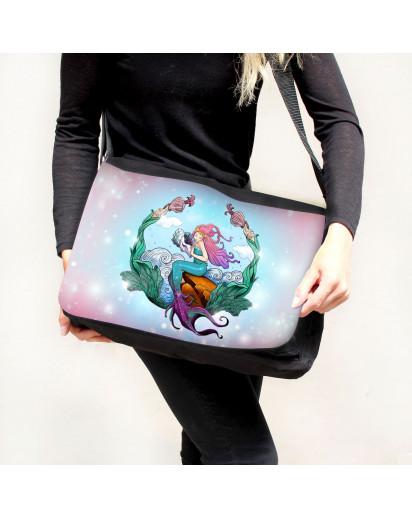 Schultertasche Schultasche Tasche Umhängetasche Meerjungfrau auf Muschel Geschenk tsu84