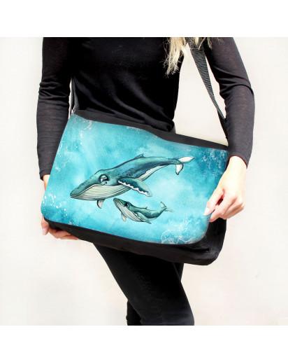 Schultertasche Schultasche Tasche Umhängetasche Wal mit Junges Jungtier Geschenk tsu88