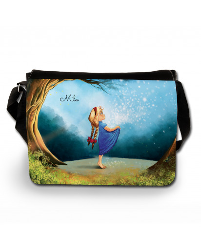 Schultertasche Schultasche Tasche Märchen Sterntaler Mädchen im Wald mit Wunschnamen satchel sling bag school bag fairy-tale star money girl in forest with desired name tsu8