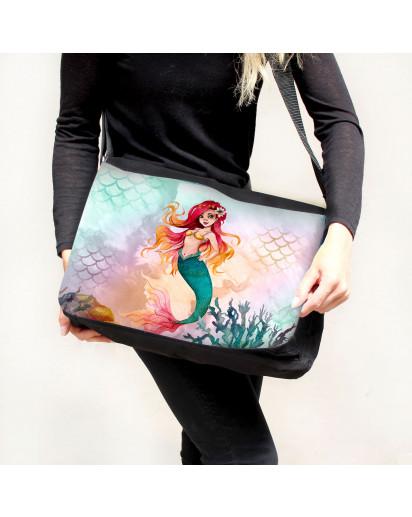 Schultertasche Schultasche Tasche Umhängetasche Meerjungfrau Korallen Geschenk tsu90