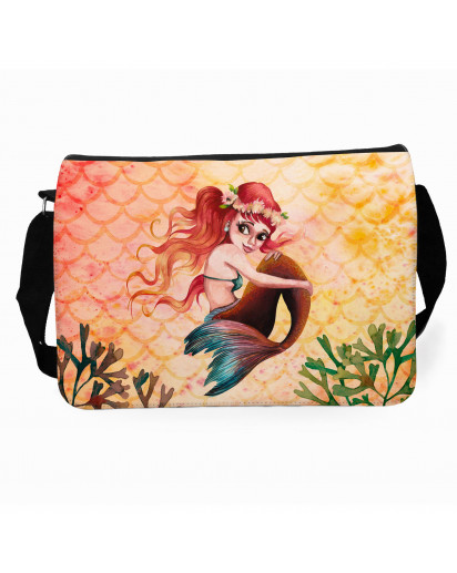 Schultertasche Schultasche Tasche Umhängetasche Meerjungfrau rot gelb Geschenk tsu91