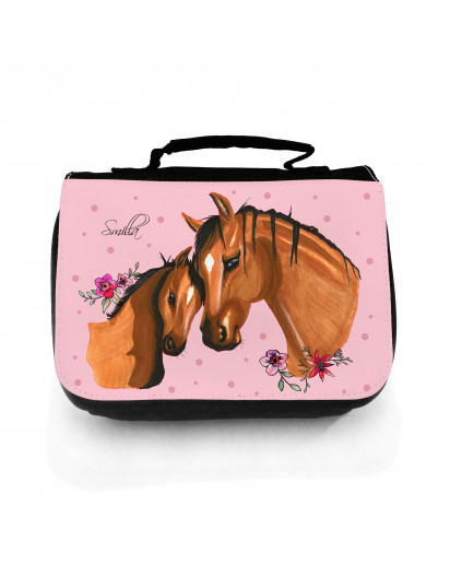 Waschtasche Waschbeutel Kulturbeutel Kosmetiktasche Reisewaschtasche Pferd mit Fohlen Punkten Blumen und Wunschnamen washbag toilet bag sponge bag cosmetics bag travel washbag horse with foal dots flowers and desired name wt114