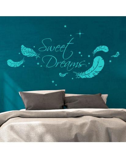 wandtattoo sweet dreams mit federn und sternen m1759 wandtattoos elfent r tassen. Black Bedroom Furniture Sets. Home Design Ideas