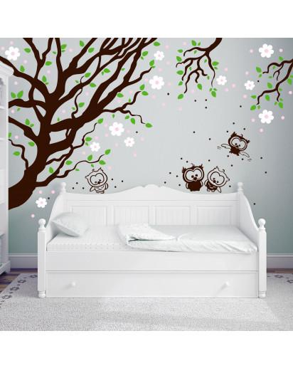 wandtattoo kirschbaum mit eulen kirschbl ten vierfarbig. Black Bedroom Furniture Sets. Home Design Ideas