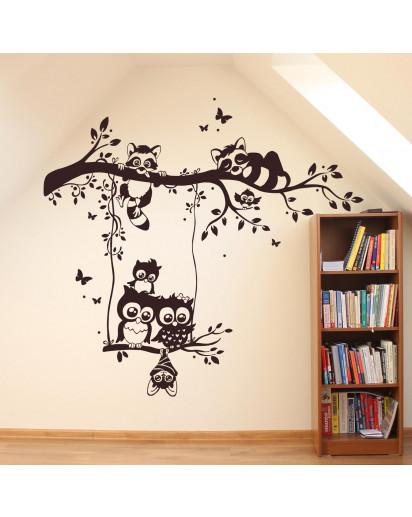 Wandtattoo Baum Tiere