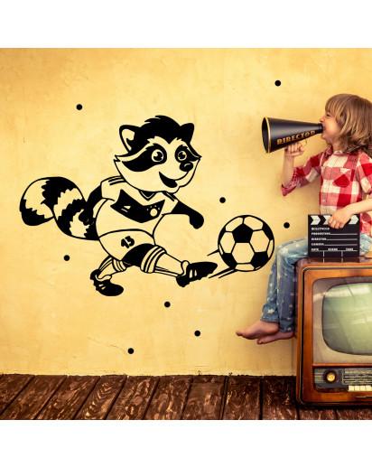 Wandtattoo Waschbär Fußball