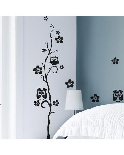 wandtattoo eulenbaum baum mit blumen und eulen m727. Black Bedroom Furniture Sets. Home Design Ideas
