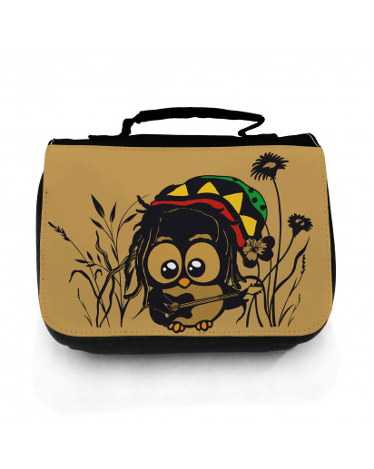 Waschtasche Waschbeutel Kulturbeutel Kosmetiktasche Reisewaschtasche Bob Marley Reggae Eule im Gras mit Gitarre washbag toilet bag sponge bag cosmetics bag travel washbag Bob Marley Reggae owl in grass with guitar wt057
