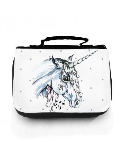 Waschtasche Waschbeutel Kulturbeutel Kosmetiktasche Reisewaschtasche Einhorn mit Punkte washbag toilet bag sponge bag cosmetics bag travel washbag unicorn with dots wt070