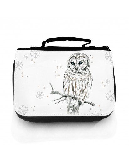 Waschtasche Waschbeutel Kulturbeutel Kosmetiktasche Reisewaschtasche Eule Eulchen Schneeeule mit Schneeflocken und Punkte washbag toilet bag sponge bag cosmetics bag travel washbag snow owl with snowflakes and dots wt083
