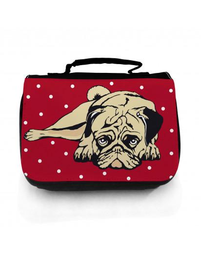 Waschtasche Waschbeutel Kulturbeutel Kosmetiktasche Reisewaschtasche Mops Hund rot weiß gepunktet washbag toilet bag sponge bag cosmetics bag travel washbag pug dog red white doted wt056