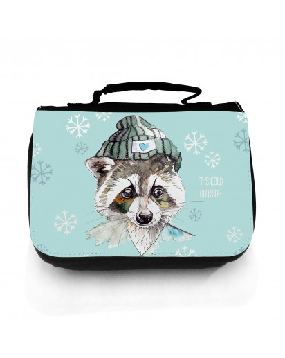 Waschtasche Waschbeutel Kulturbeutel Kosmetiktasche Reisewaschtasche Waschbär mit Schneeflocken Eiskristalle und Spruch It's cold outside washbag toilet bag sponge bag cosmetics bag travel washbag raccoon with snowflakes ice crystals and saying it's cold