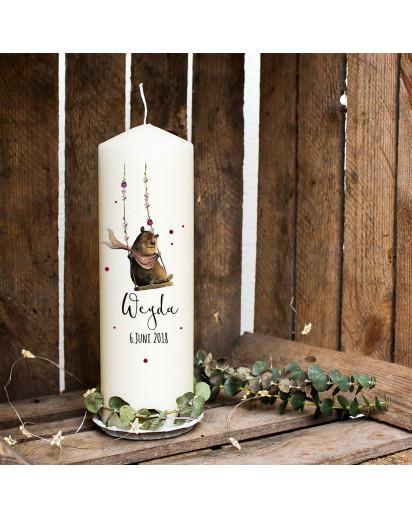 Taufkerze Kerze zur Taufe oder Geburt Kommunionkerze mit Bär auf Schaukel & Name wk13