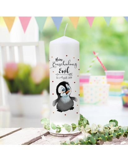 Einschulungskerze Kerze zum Schulanfang zur Einschulung süßer Pinguin Wunschname Datum wk168