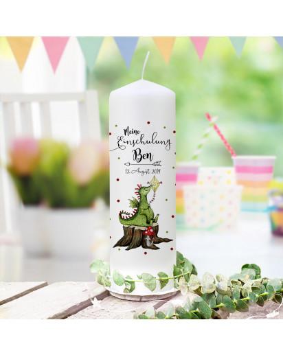 Einschulungskerze Kerze zum Schulanfang zur Einschulung Schulkind Motiv süßer Drache Wunschname Datum wk169
